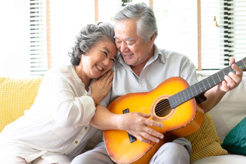 senior couple playing music